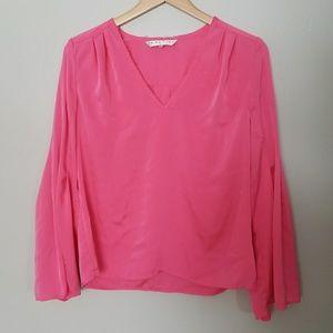 Trina Turk Iolana Resort V-Neck Silk Blouse Size M